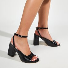 Croc Embossed Ankle Strap Chunky Heeled Sandals