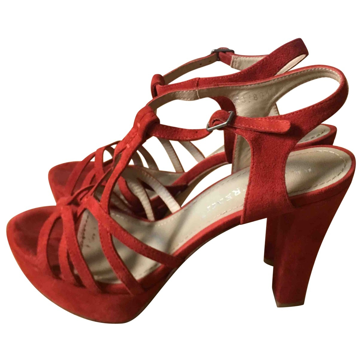- Sandales   pour femme en suede - rouge