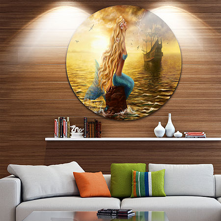 Designart Sea Mermaid with Ghost Ship Seascape Circle Metal Wall Art, One Size , Yellow