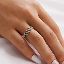 1pc Rhinestone Leaf Ring