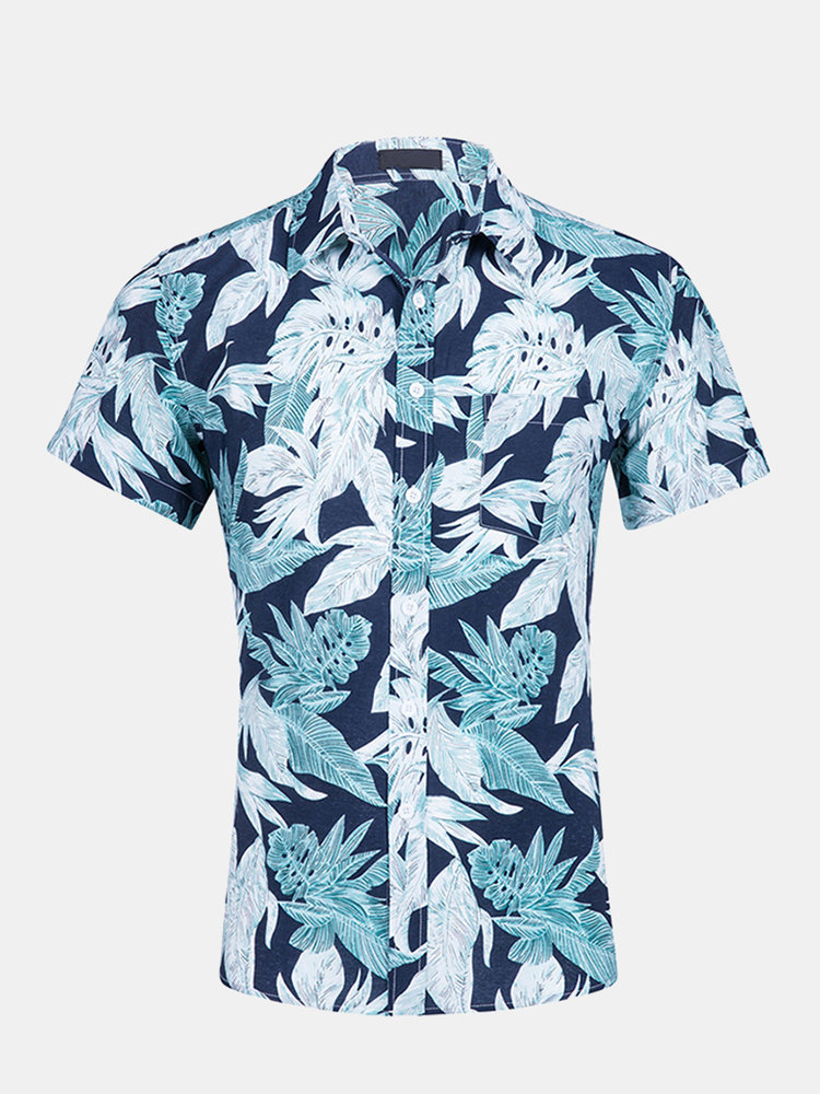 Mens Summer Palms Hawaiian Shirt Printing Short Sleeve Beach Shirts