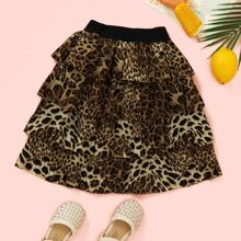 Toddler Girls Leopard Plicated Layered Skirt