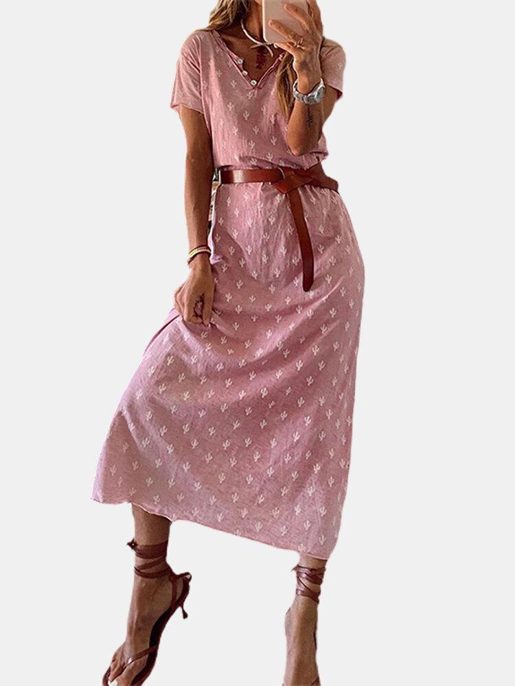 Printed Short Sleeves V-neck Casual Dress For Women
