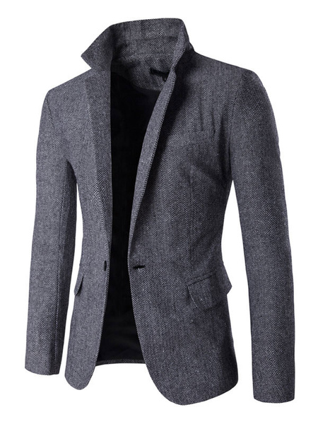 Milanoo Men Causal Blazer Notch Lapel One Button Pocket Slim Fit Blazer Jacket