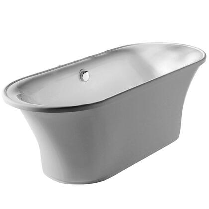 WHBL175BATH Oval double ended freestanding bathtub made of Lucite acrylic with a chrome mechanical pop-up waste and chrome center drain with internal