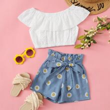 Toddler Girls Schiffy Bardot Top With Floral Paperbag Shorts