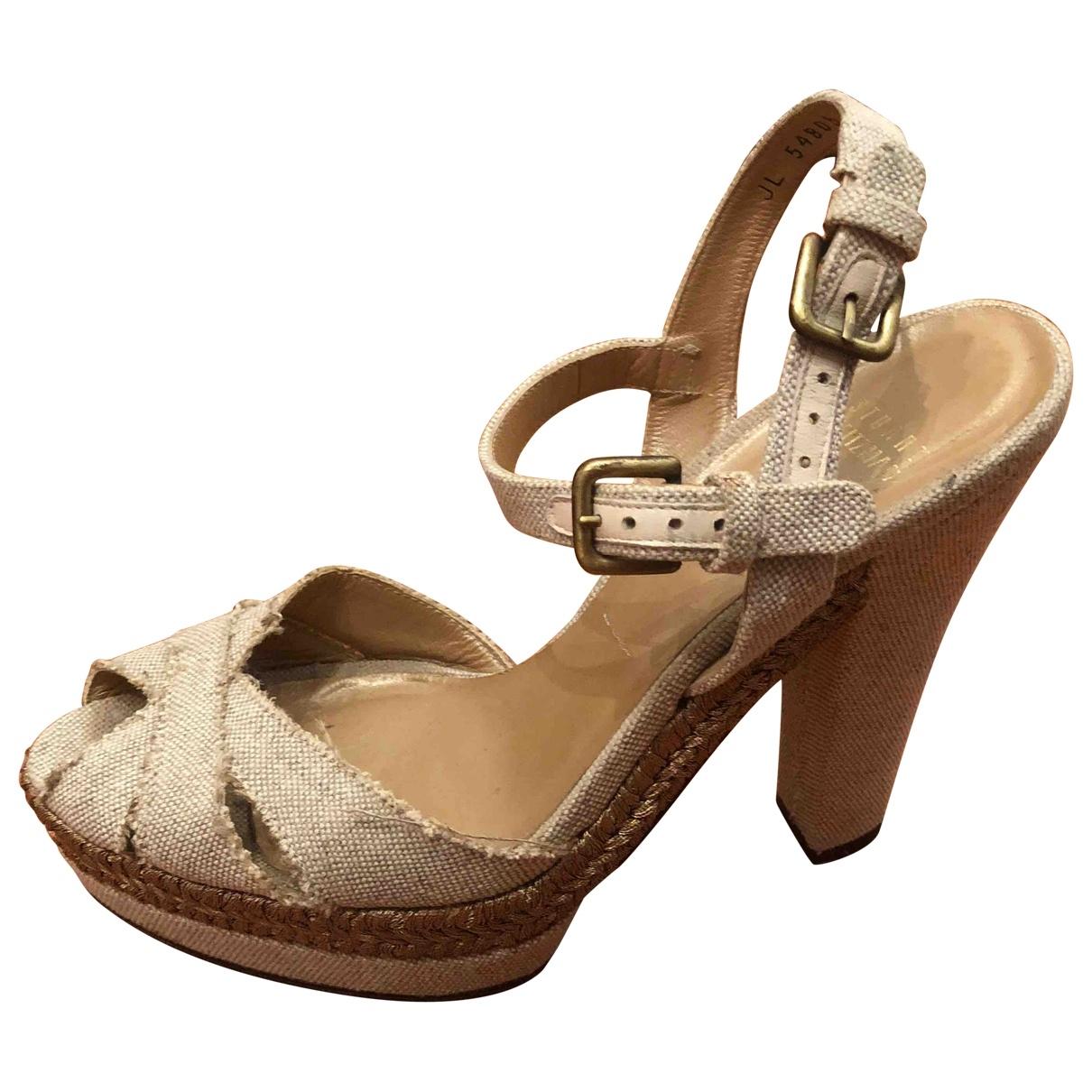Stuart Weitzman \N Beige Cloth Sandals for Women 39 EU
