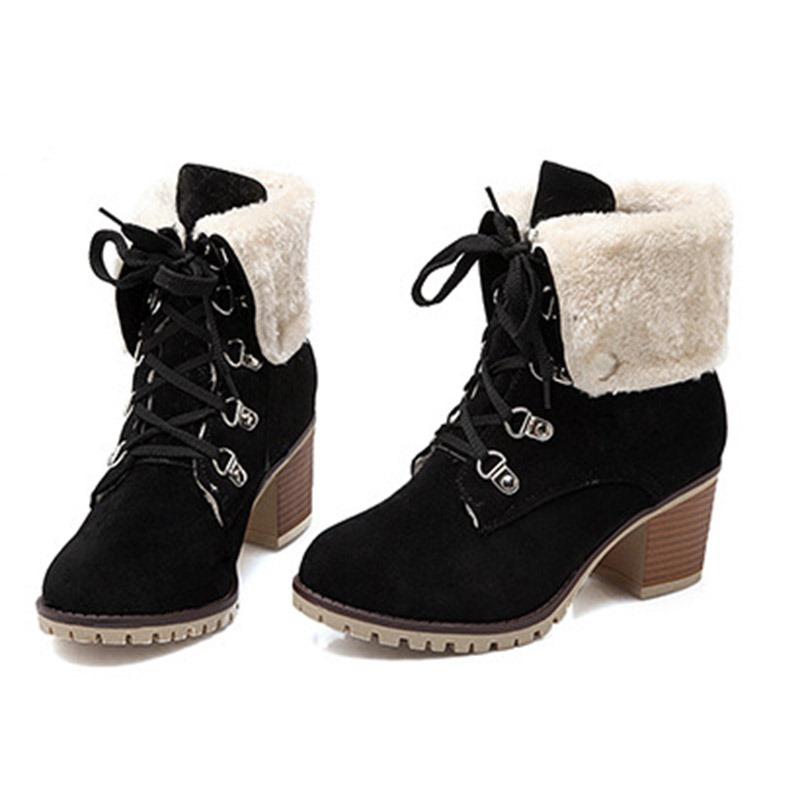 Ericdress Plain Round Toe Chunky Heel Women's Snow Boots