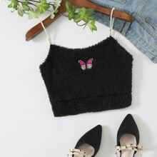 Butterfly Patched Cutout Front Shearling Crop Cami Top
