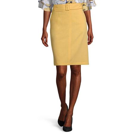 Liz Claiborne Womens Mid Rise Pencil Skirt, 2 , Yellow