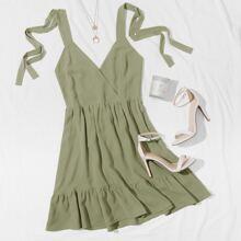 Cami Kleid mit Raffungsaum und Knoten