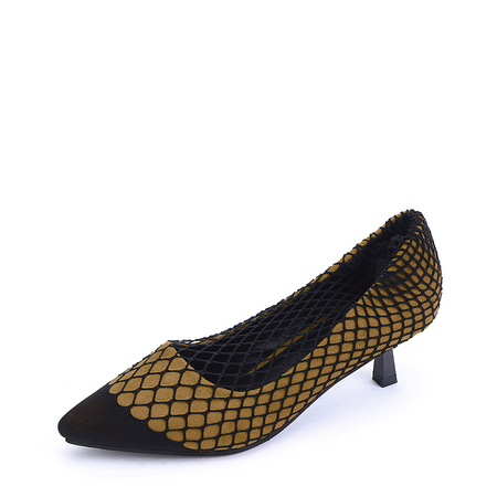 Yoins Yellow Pointed Toe Net Stockings in One Piece Heels