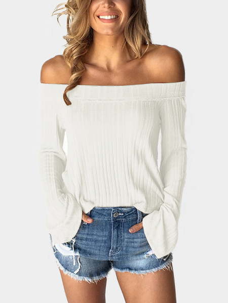 Yoins White Off The Shoulder Bell Sleeves Sweater
