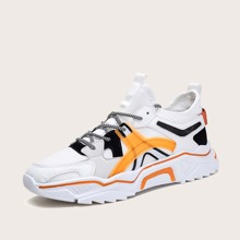 Men Lace-up Decor Colorblock Chunky Sneakers