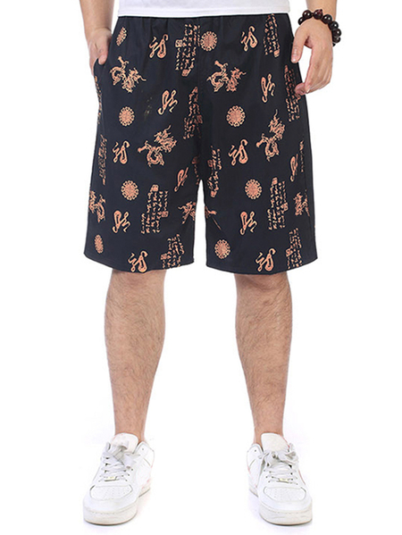 Yoins Men Summer Vintage Ethnic Printed Shorts Elastic Waist Straight Five Point Shorts