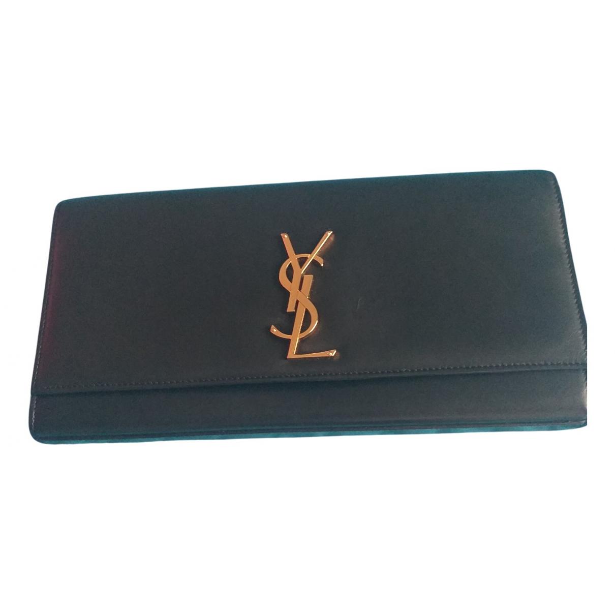Saint Laurent Kate monogramme Clutch in  Schwarz Leder