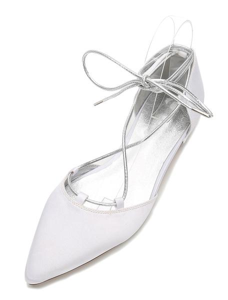 Milanoo White Wedding Shoes Satin Pointed Toe Lace Up Flat Bridal Shoes