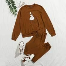 Pullover mit Geste Muster und Jogginghose Set mit Band vorn