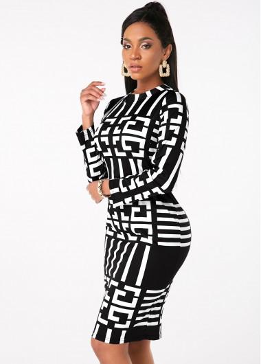 Black Dresses Geometric Print Long Sleeve Round Neck Dress - S
