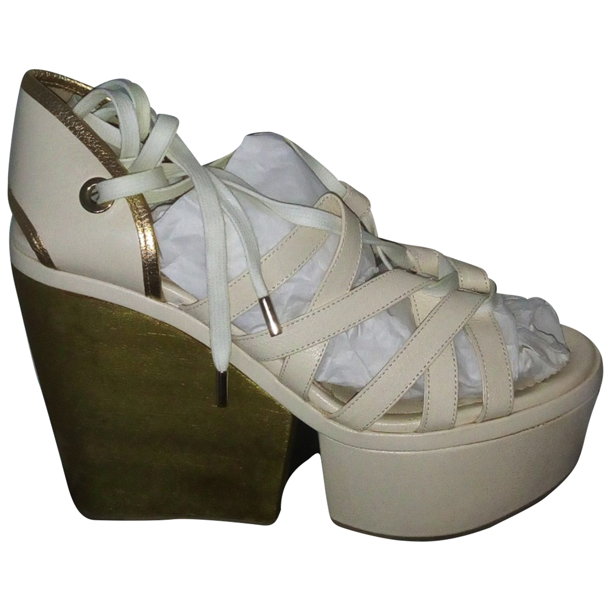 D&g \N White Leather Sandals for Women 37 EU