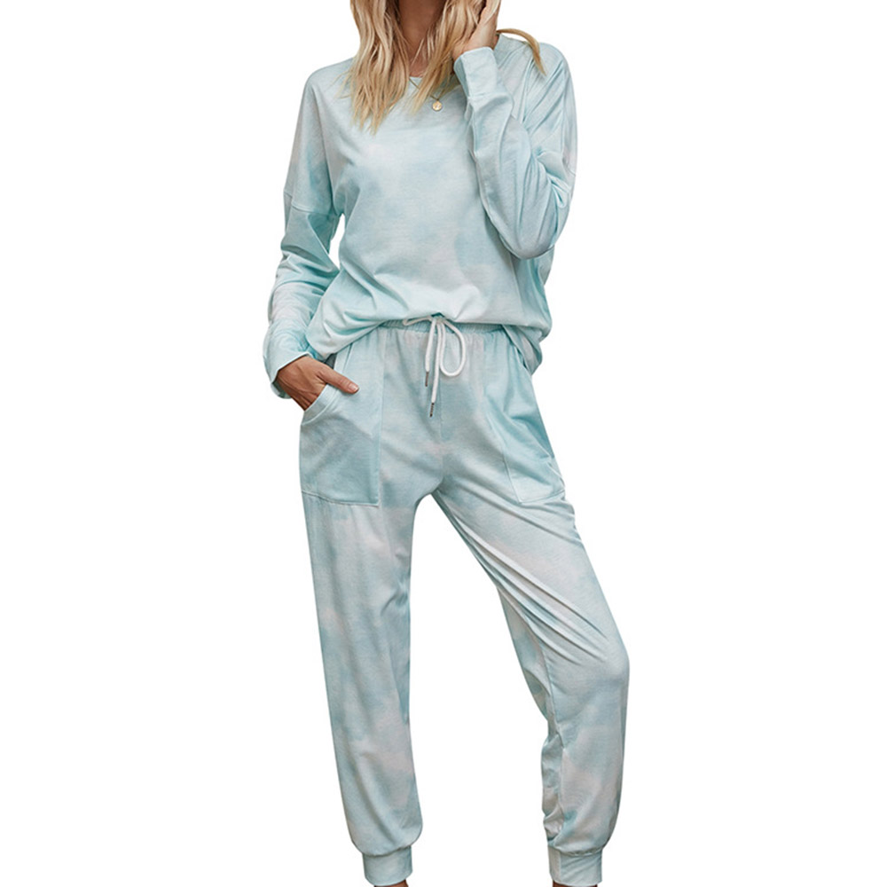 Casual Pocket Long Sleeve Green Gradient Women's Pajama Suit