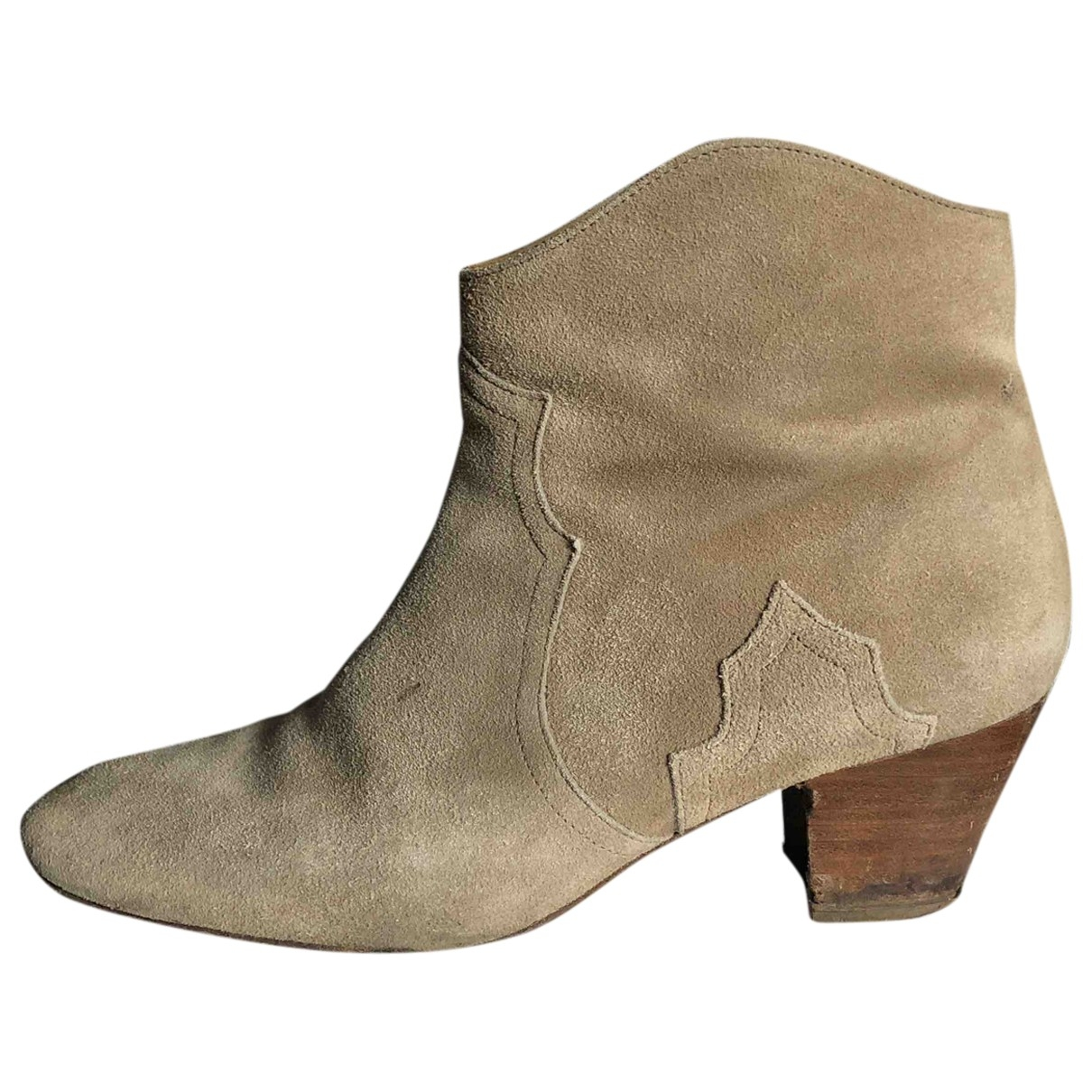 Isabel Marant Dicker Beige Suede Ankle boots for Women 41 EU