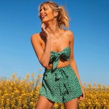Tie Front Ditsy Floral Tube Top & Belted Shorts Set