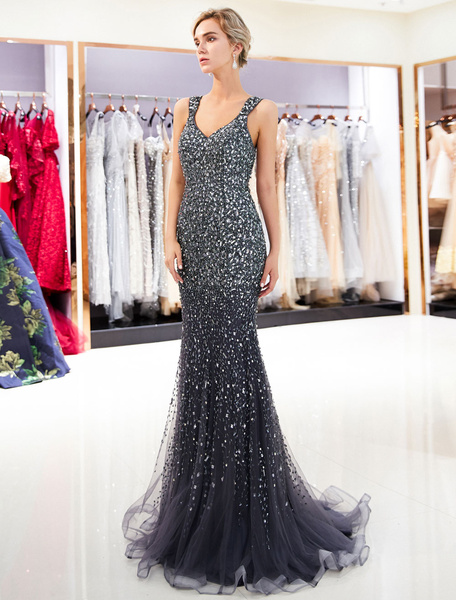 Milanoo Light Gold Evening Dresses Mermaid Prom Dress V Neck Illusion Formal Gowns