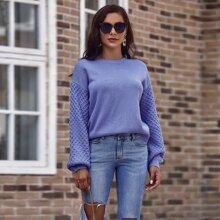 Einfarbiger Pullover mit Laternenaermeln