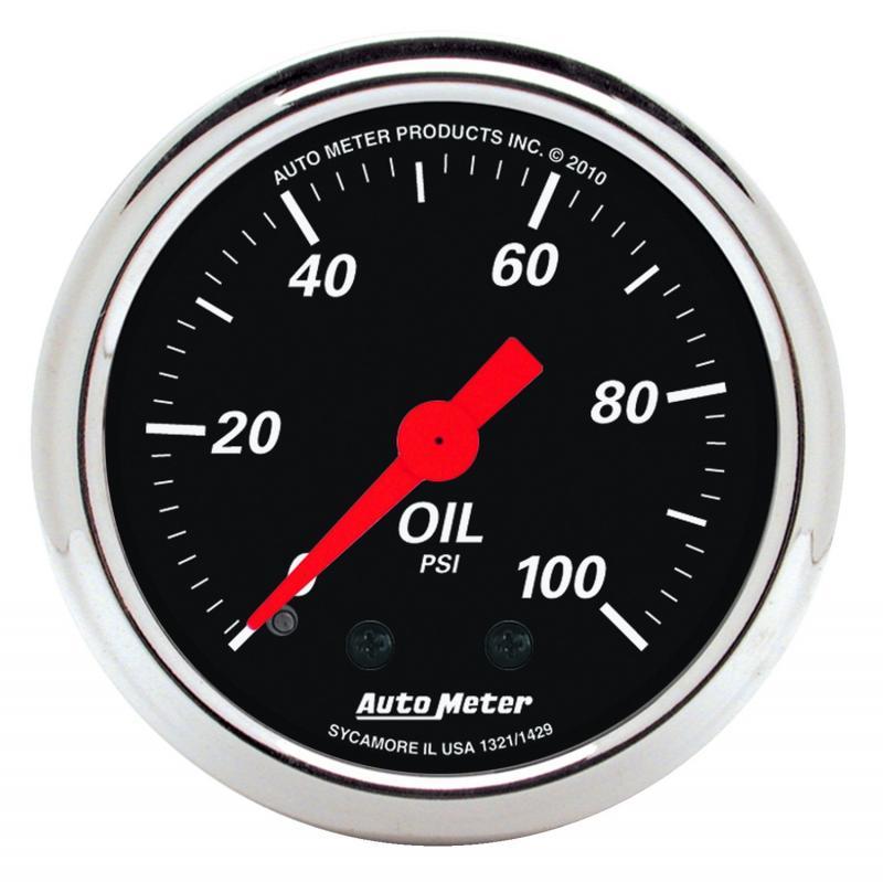AutoMeter GAUGE; OIL PRESS; 2 1/16in.; 100PSI; MECH; DESIGNER BLACK