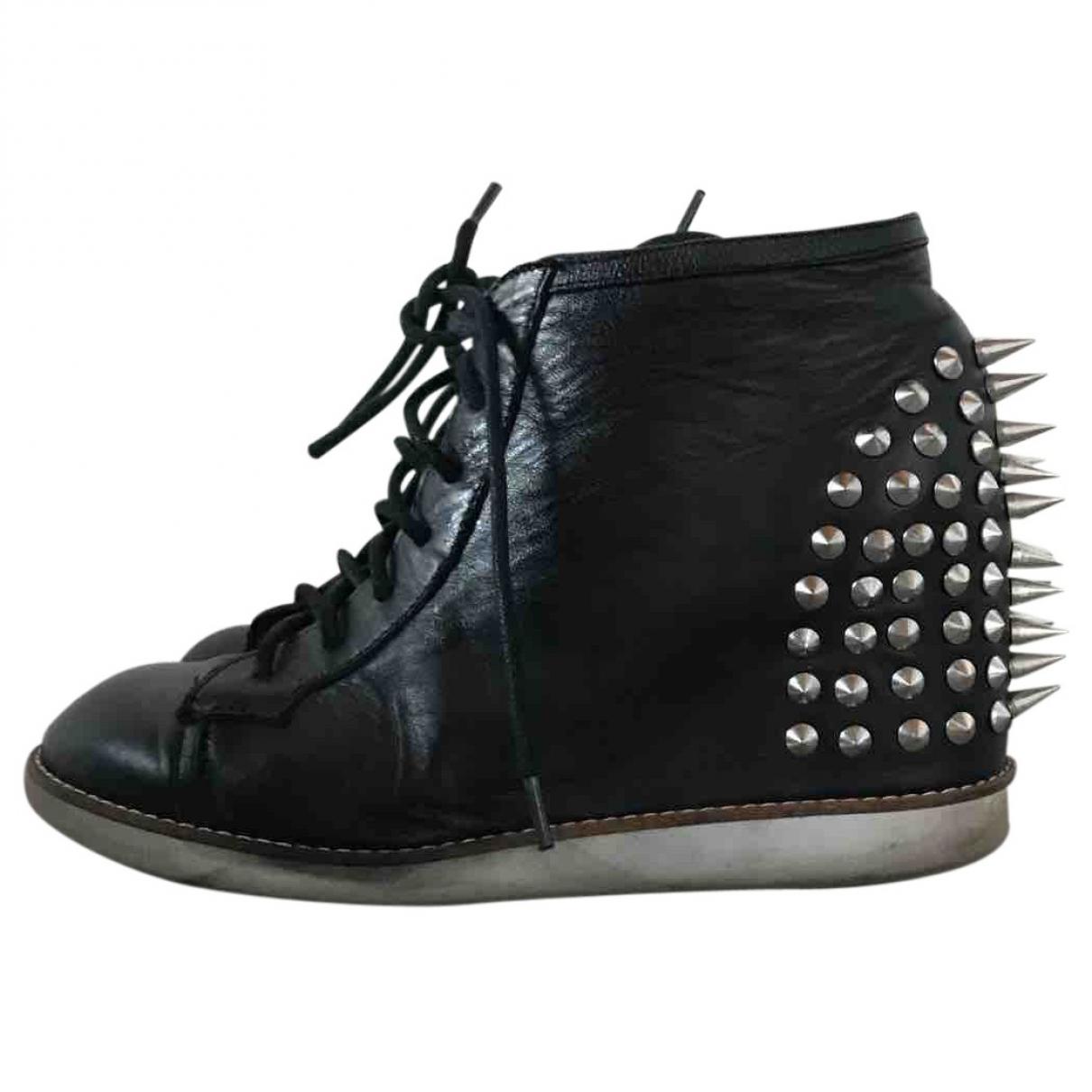 Jeffrey Campbell - Baskets   pour femme en cuir - noir