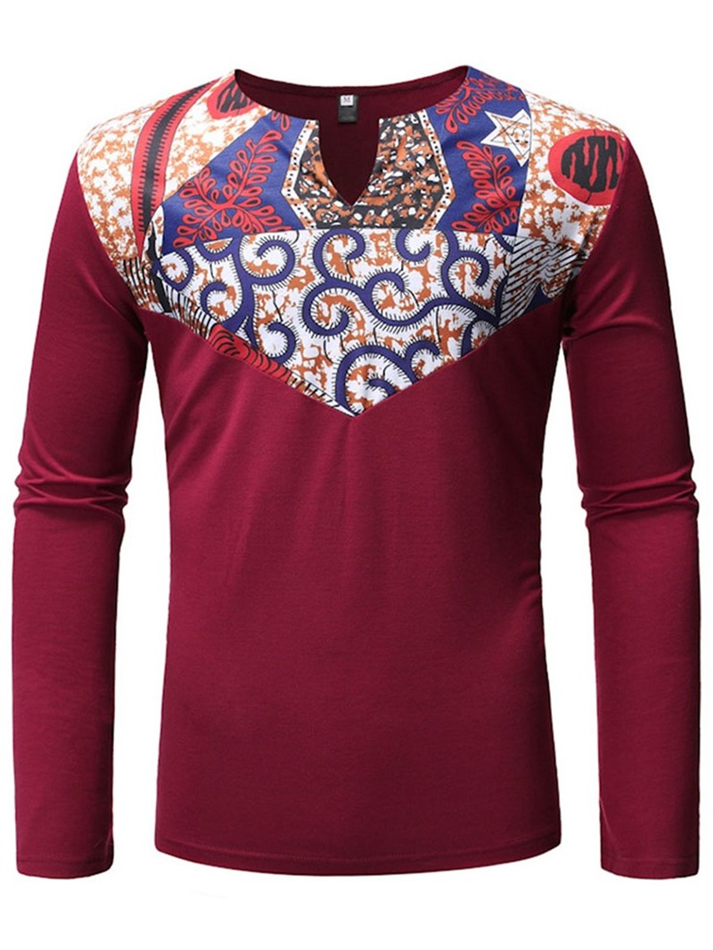 Ericdress Round Neck Color Block Print Slim Pullover Men's T-shirt
