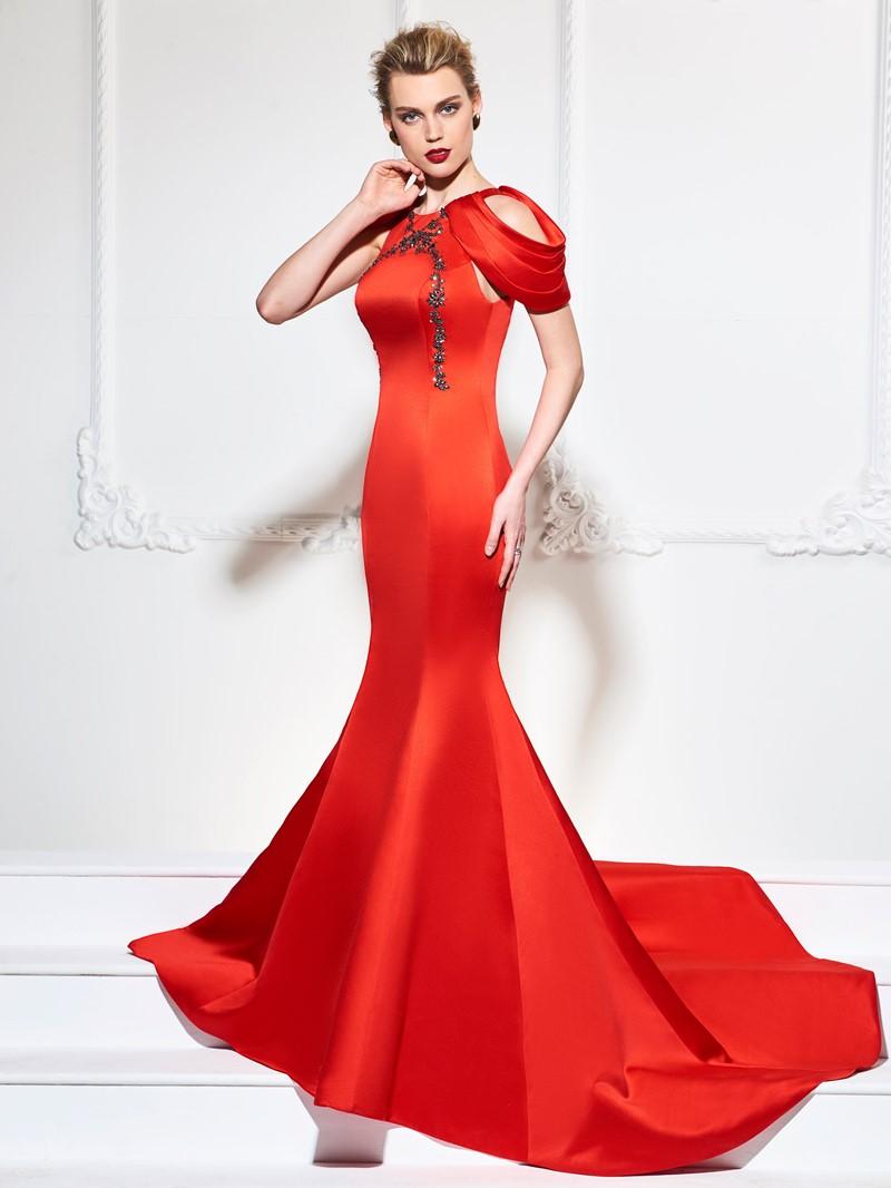 Ericdress Cap Sleeve Beaded Mermaid Evening Dress With Court Train