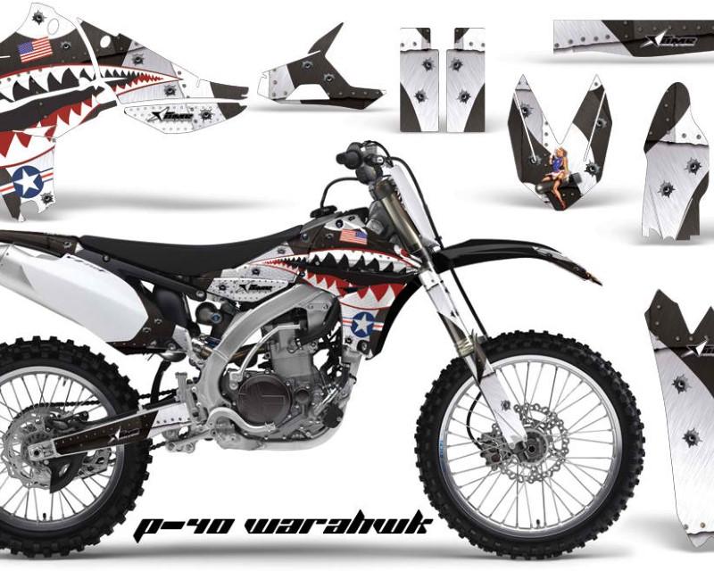 AMR Racing Dirt Bike Graphics Kit Decal Sticker Wrap For Yamaha YZ450F 2010-2013áWARHAWK WHITE