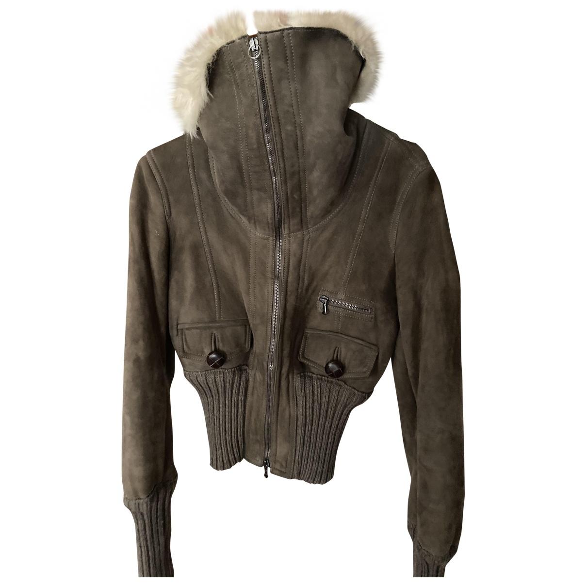 Patrizia Pepe \N Green Fur Leather jacket for Women 40 IT