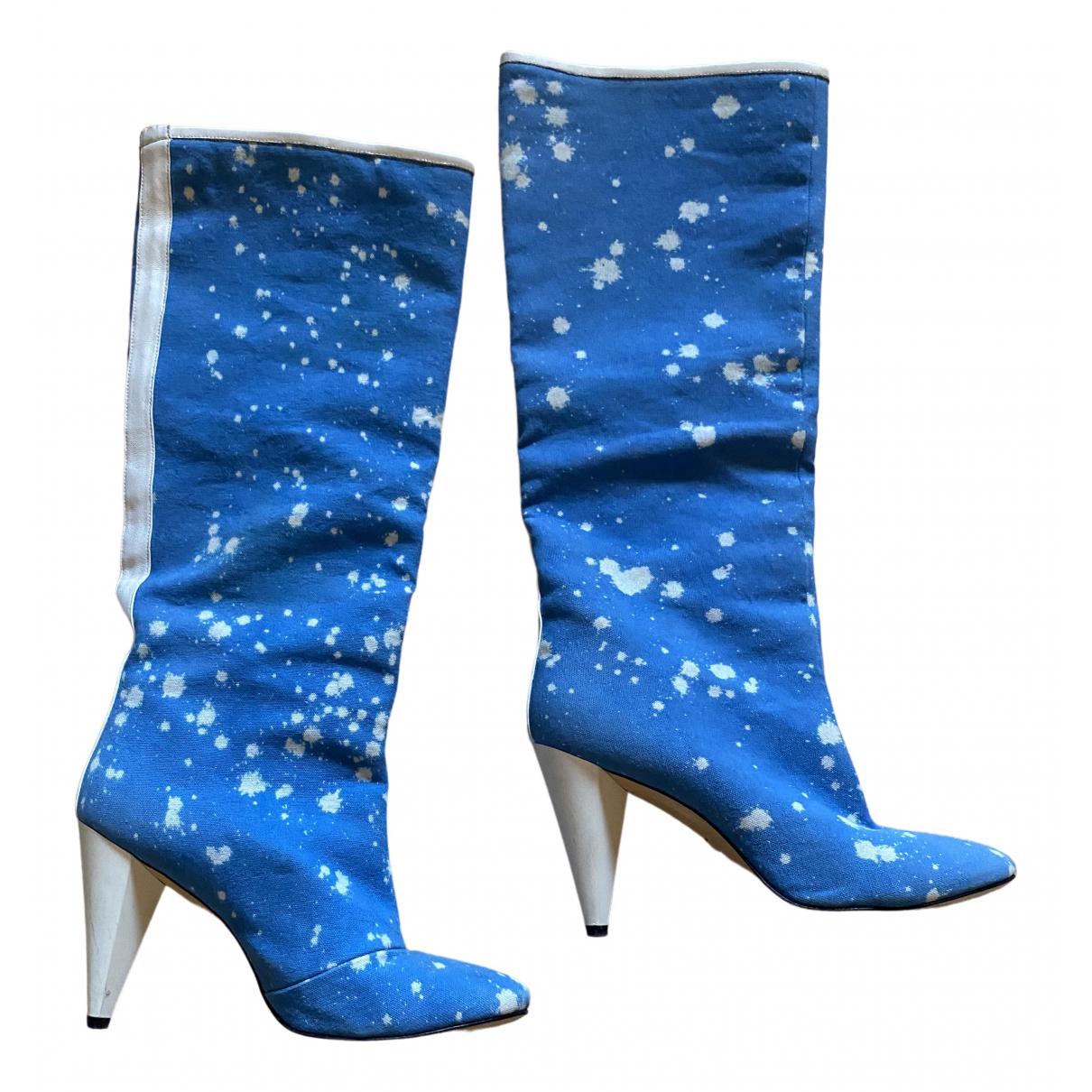 Msgm - Bottes   pour femme en toile - bleu