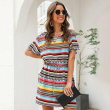 Tribal & Striped Drawstring Waist Dress