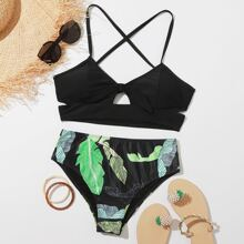 Tropical Cut-out Knot Front Bikini Swimsuit