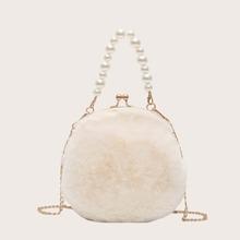 Handtasche mit Kunstperlen Dekor