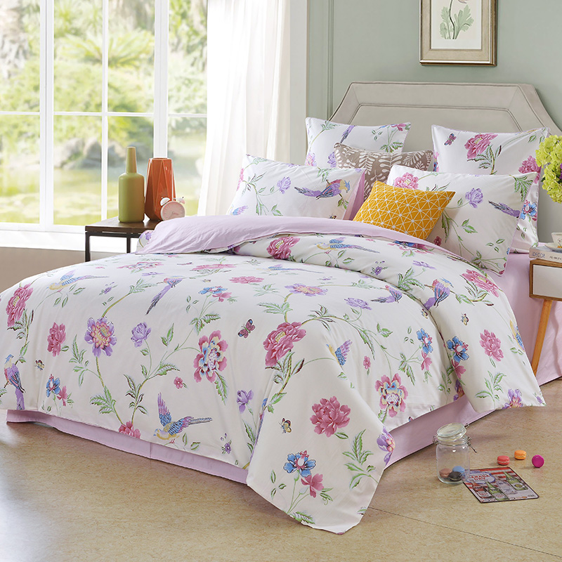 Singing Birds Flying in The Blossom Reactive Printing Polyester Three-Piece Set 2 Pillowcases and 1 Duvet Cover
