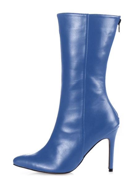 Milanoo Botas de mitad de la pantorrilla de PU de puntera puntiaguada botas altas mujer 10cm botas altas negras de tacon de stiletto negro  con cremal