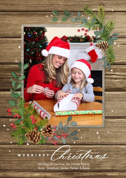 Christmas Photo Cards Flat Glossy Photo Paper Cards with Envelopes, 5x7, Card & Stationery -Christmas Merriest Foliage by Tumbalina