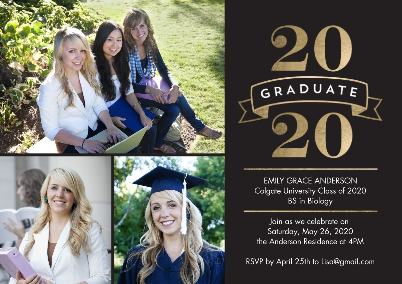 2020 Graduation Announcements 5x7 Cards, Premium Cardstock 120lb, Card & Stationery -2020 Grad Simple Banner by Tumbalina
