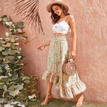 Frill Trim Ruffle Hem High-Low Floral Skirt