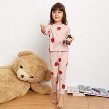 Toddler Girls Strawberry Rib-Knit Lettuce Trim PJ Set