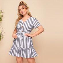 Plus Buttoned Front Knot Waist Ruffle Hem Striped Dress