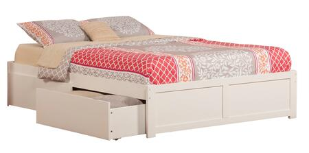 Concord Collection AR8042112 Queen Size Platform Bed with 2 Urban Bed Drawers  Casters  Flat Panel Foot Board  Hardwood Slat Kit and Eco-Friendly