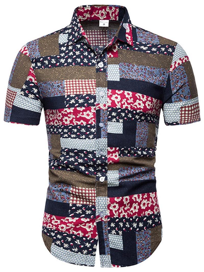 Ericdress Printed Patchwork Mens Summer Slim Shirt
