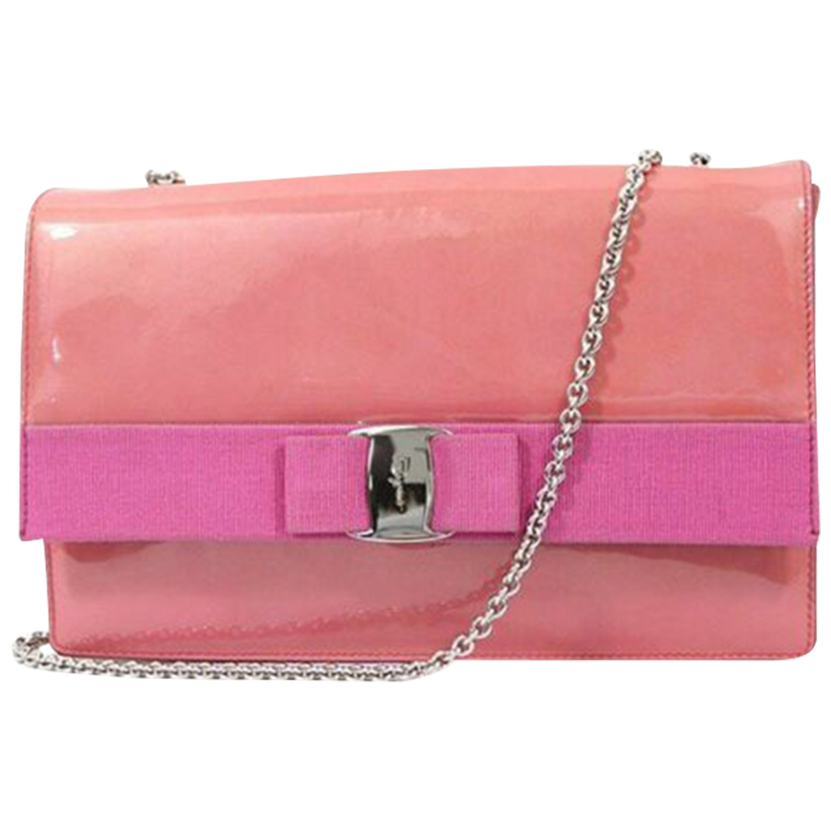Salvatore Ferragamo \N Clutch in  Rosa Lackleder