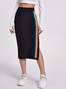 Rainbow Striped Side Knit Pencil Skirt